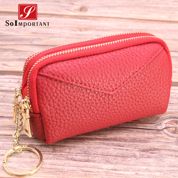 Women Double Zipper Wallets Coin Purses Vintage Genuine Leather Female Money Bags Credit Card Holder Small Wallet With Key Ring fashion real patent leather women short wallets small wallet coin pocket credit card wallet female purses money clip gold color