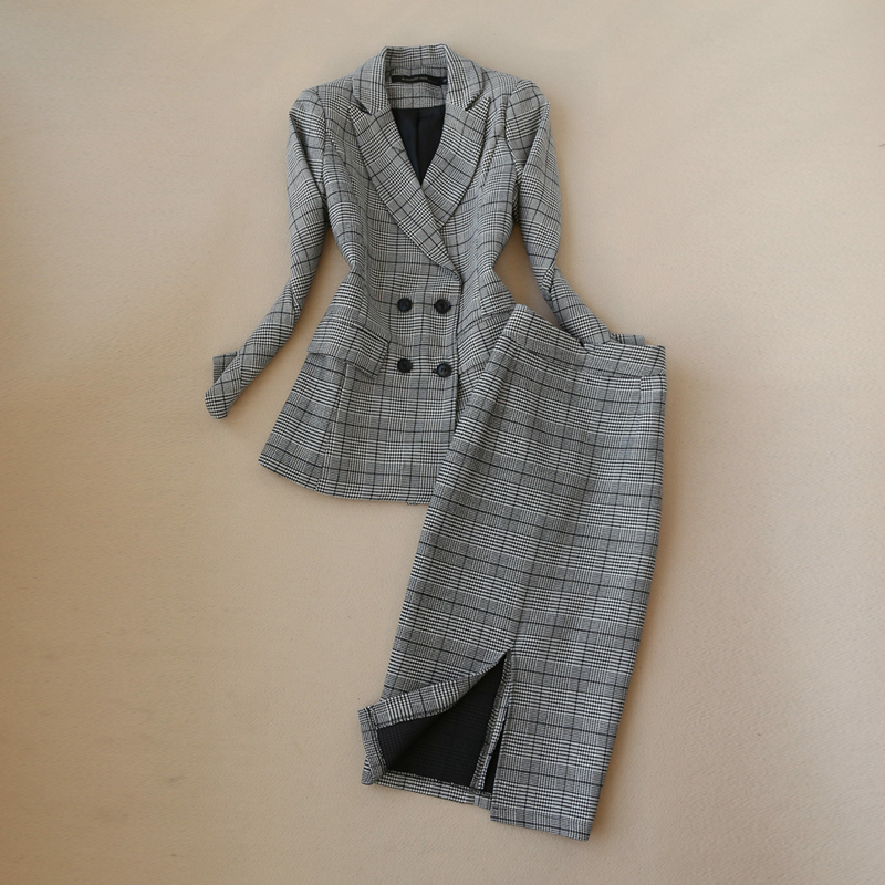 High Quality Winter Women's Suits Skirt Set Slim-fit Double-breasted Plaid Ladies Jacket Casual High Waist Skirt Two-piece 2019