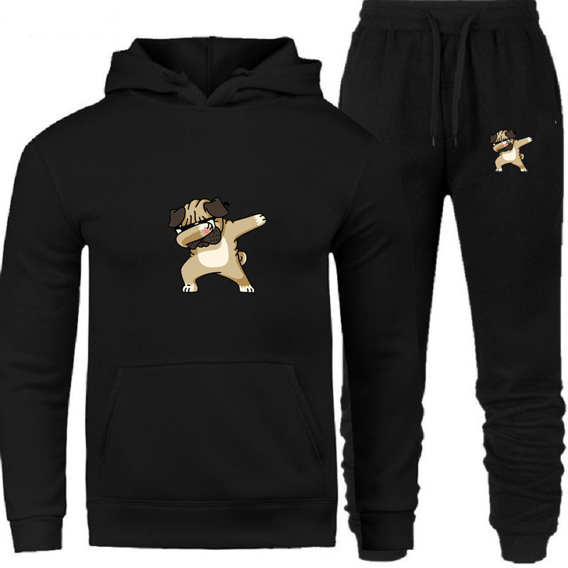 Men's Sets Hoodie And Pants Sweatsuit Male Sportswear Tracksuit Hip Hop Men Set 2019 Brand Sporting Suit Print Dog