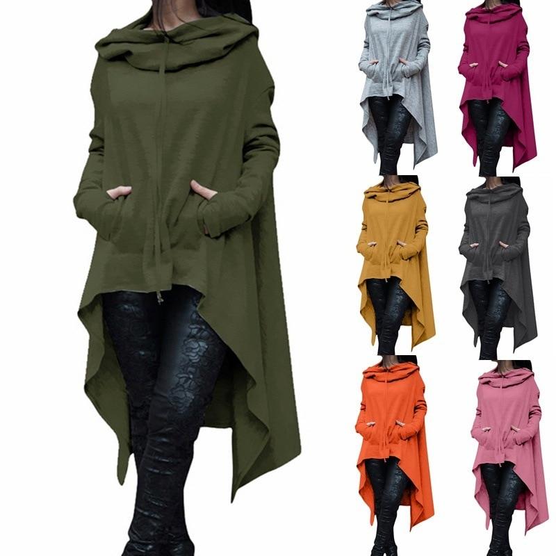 2019 Irregular Hoodies Solid Color Fashion Oversize Hoodies Sweatshirt Women Loose Hoody Mantle Hooded Pullover Outwear Coat