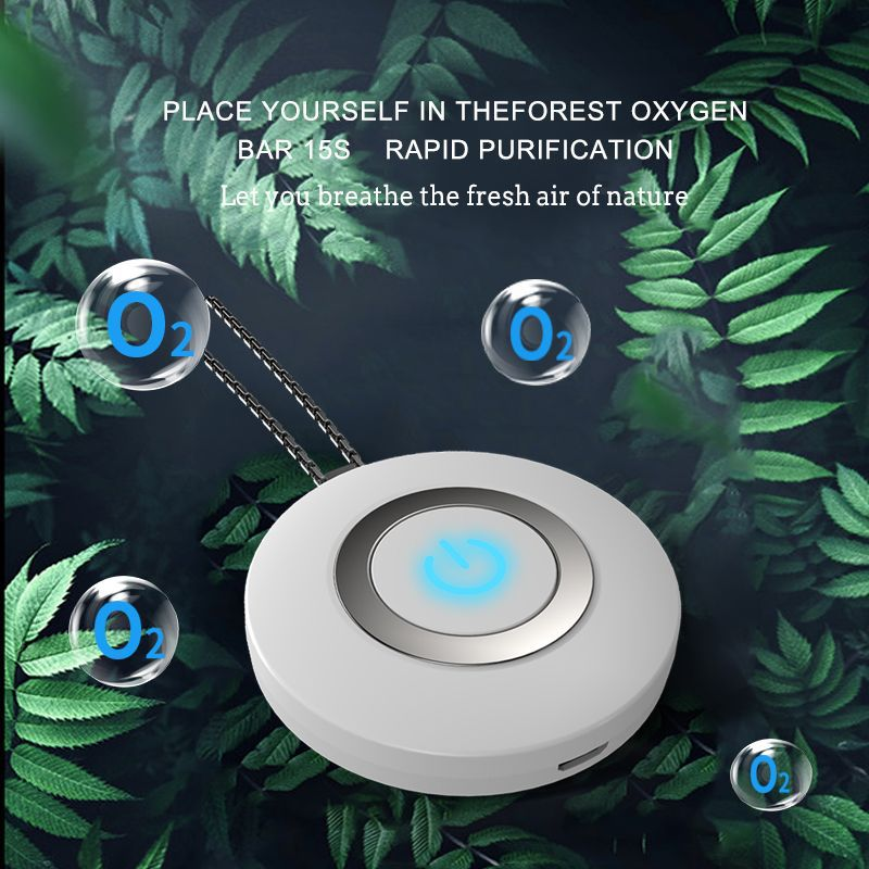 AGLOVER Fashion Personal Wearable Air Purifier Necklace Mini Portable Air Freshener Ionizer Anion Generator Men Women Necklace