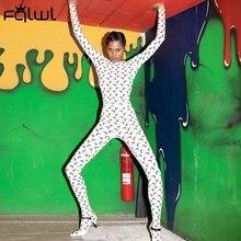 FQLWL Casual Moon Print Long Sleeve Summer Rompers Womens Jumpsuit Female Streetwear Skinny Ladies One Piece Jumpsuit Women 2020