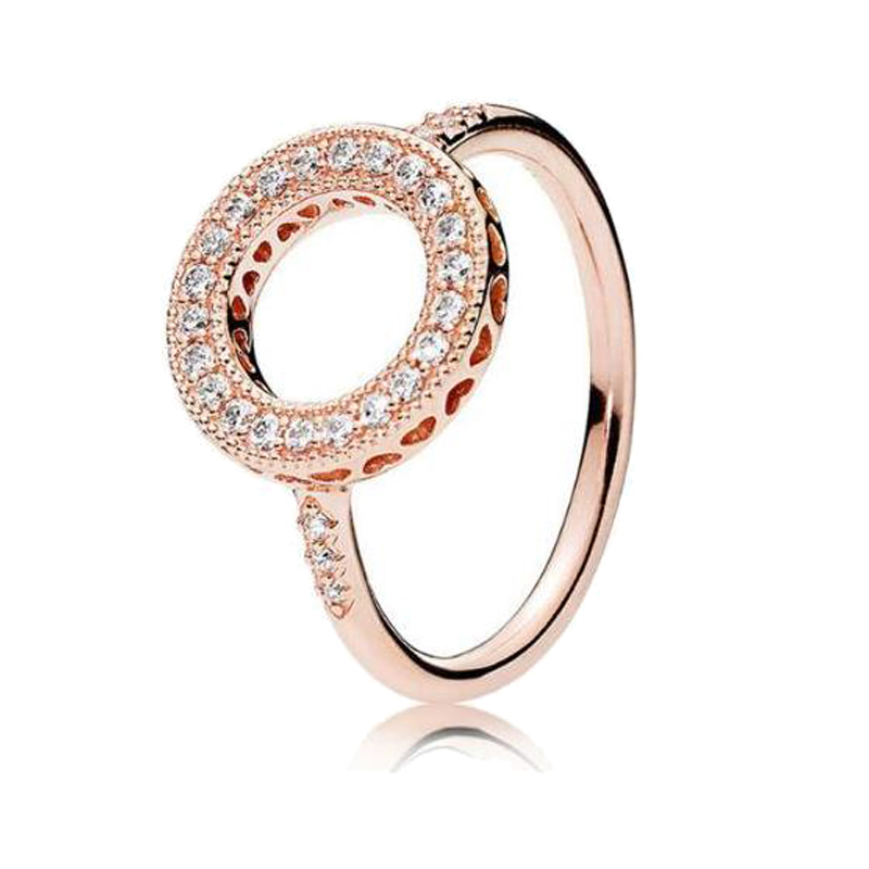Free Shipping Real 925 Sterling Silver Rose Gold Hearts Of Halo Ring For Women Wedding Anniversary Party Gift Fashion Jewelry