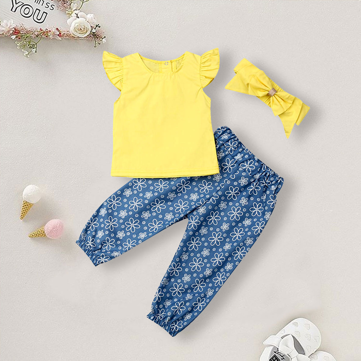 3pcs Short Top Girl Infant Toddler Clothing Sleeves Short Sleeve Outfits Suit