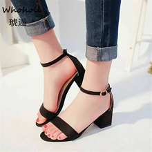 Whoholl 2019 Ankle Strap Heels Women Sandals Summer Shoes Women Open Toe Chunky High Heels Party Dress Sandals Big Size 34-40 недорого