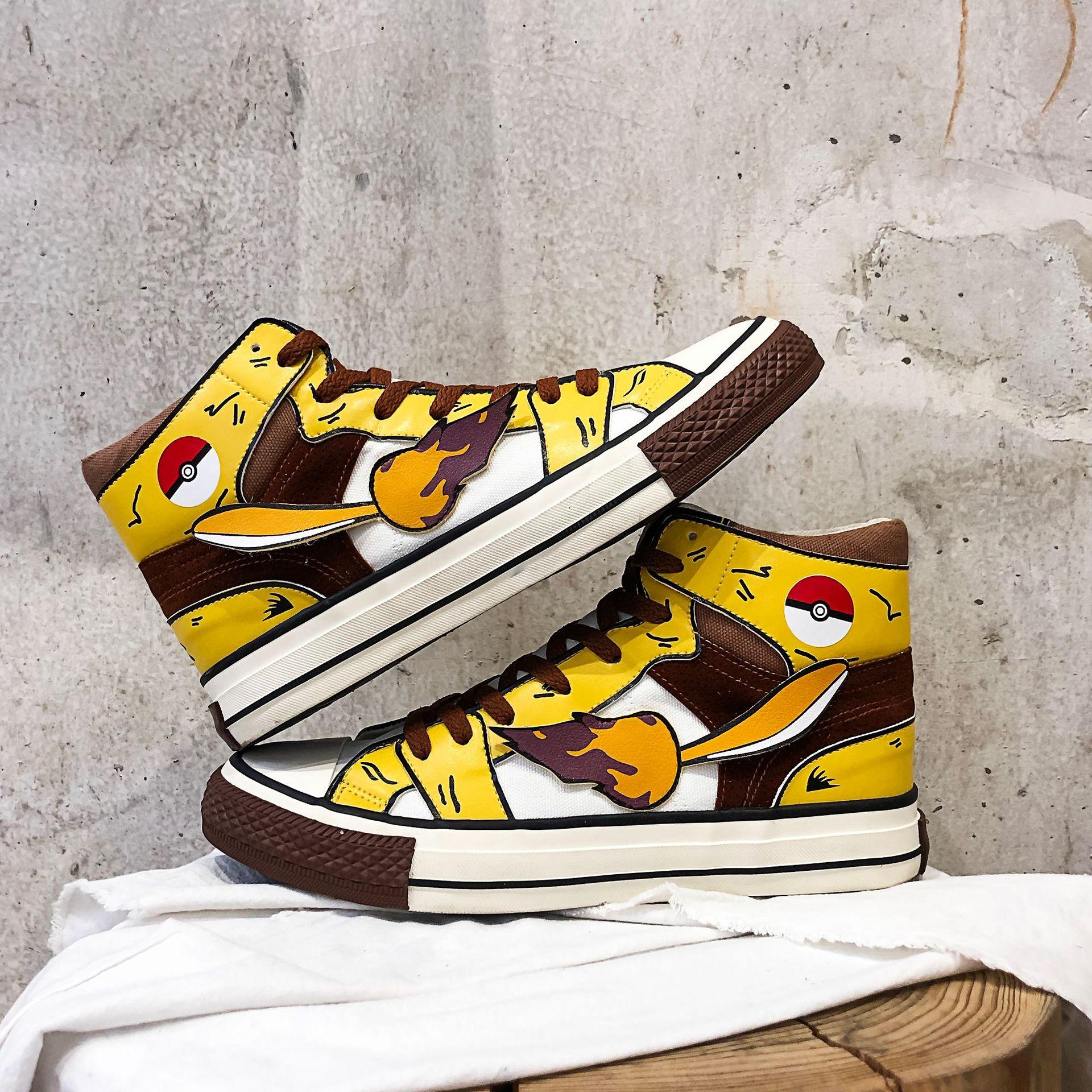 Модная парусиновая обувь для костюмированной вечеринки в стиле аниме «Покемон каваи Пикачу»; обувь для подростков; школьная спортивная обувь; кроссовки; Уличная обувь для путешествий