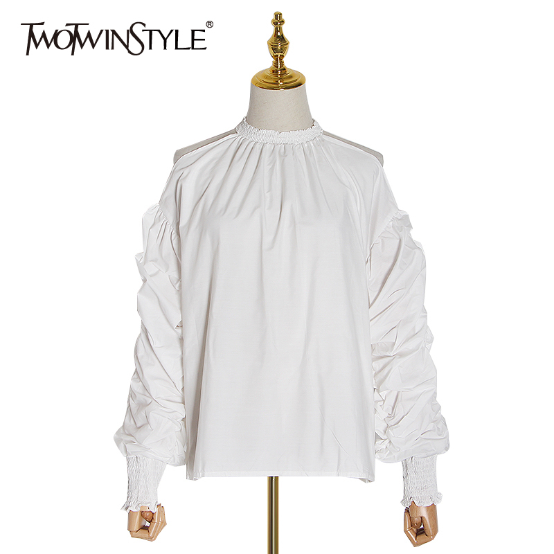 TWOTWINSTYLE Elegant Sexy Blouse Women O Neck Lantern Long Sleeves Off Shoulder Casual Ruched Shirt Female Clothing 2020 Fashion
