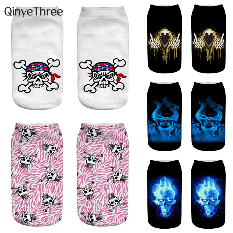 New Fashion Women Low Cut Ankle Socks Funny Skull 3D Printed Sock Cotton Hosiery Punk Gothic Rococo Printing Sock 1pair=2pcs
