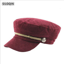 SILOQIN  Trend Lady Brands Military Hats Snapback Autumn Winter Womens Fashion Corduroy Flat Cap Leisure Keep Warm Tongue Caps