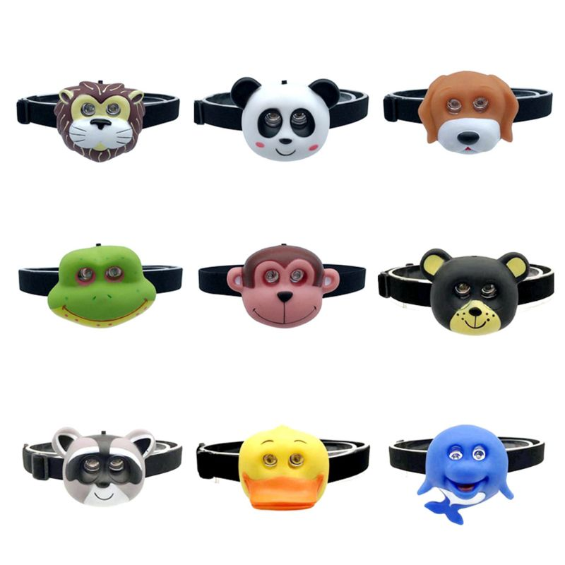 Child's Headlight With Headband Cartoon Animal Headlamp SOS Flashlight Kids Gift