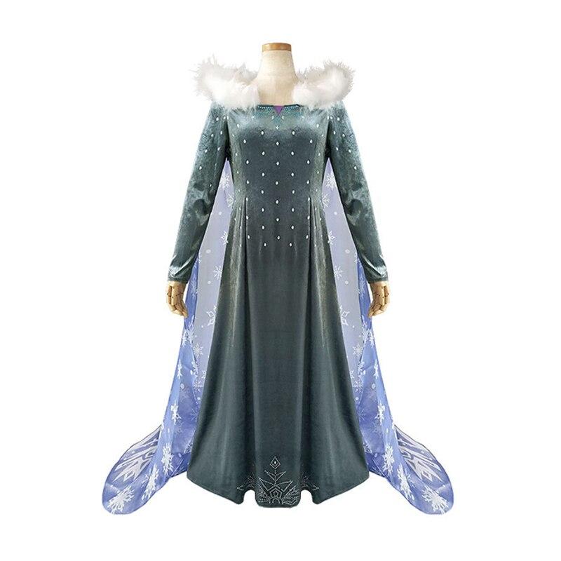 Frozen 2 Elsa anna Dress Dresses for adult Vestidos De Fiesta De Noche Elsa cosplay Costume Long Sleeves Princess women Dresses