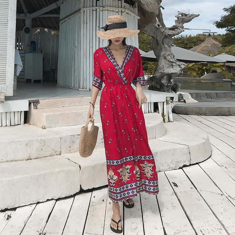 2019 Red Dress V-neck Summer Ethnic-Style Beach Skirt Seaside Holiday Bohemian Long Skirts