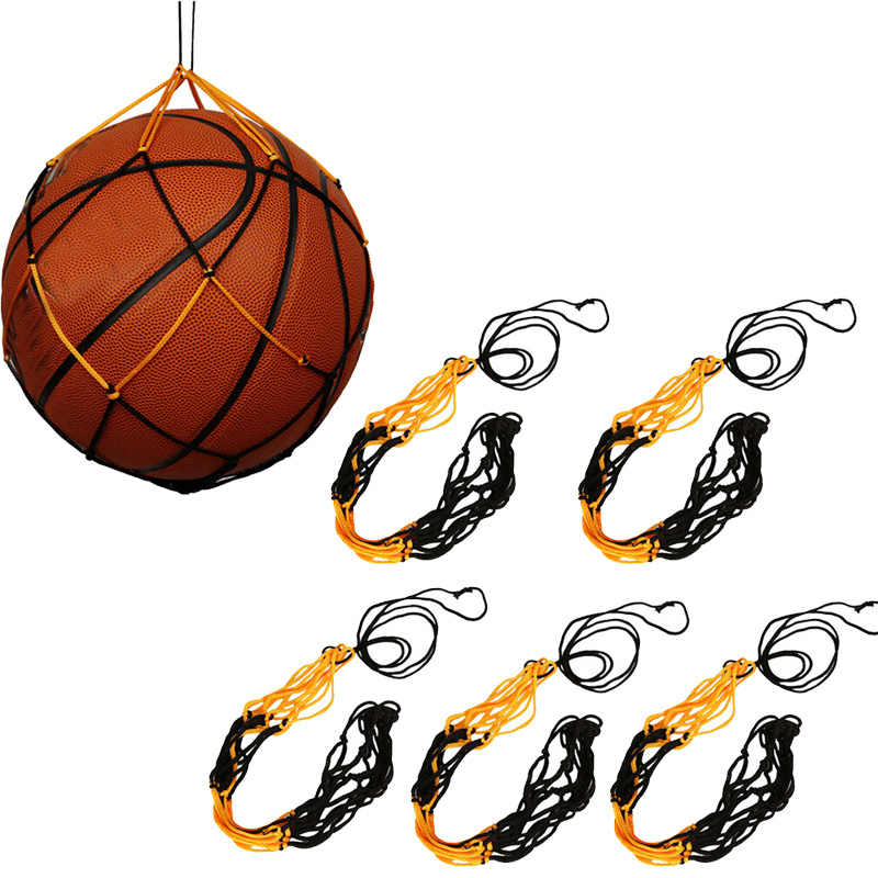 5 pièces en Nylon filet sac balle transporter maille volley-Ball basket-ball Football pour ballon de football basket-Ball volley-ball Football ou toutes les balles 7
