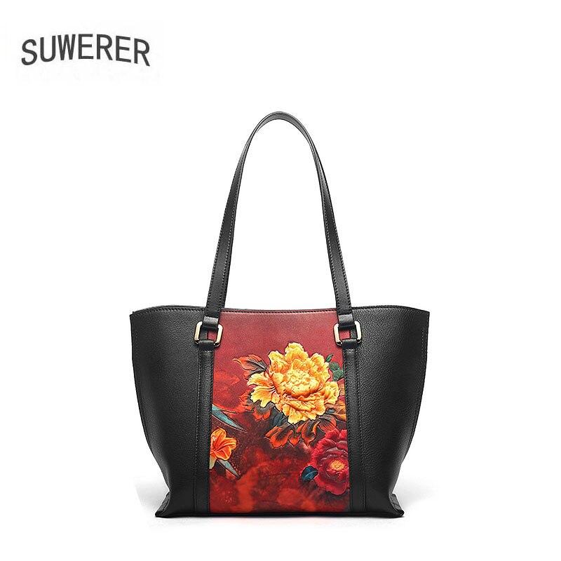 SUWERER genuine leather women bags fashion embossed bag handbags large capacity women handbag women designer leather shoulderbag