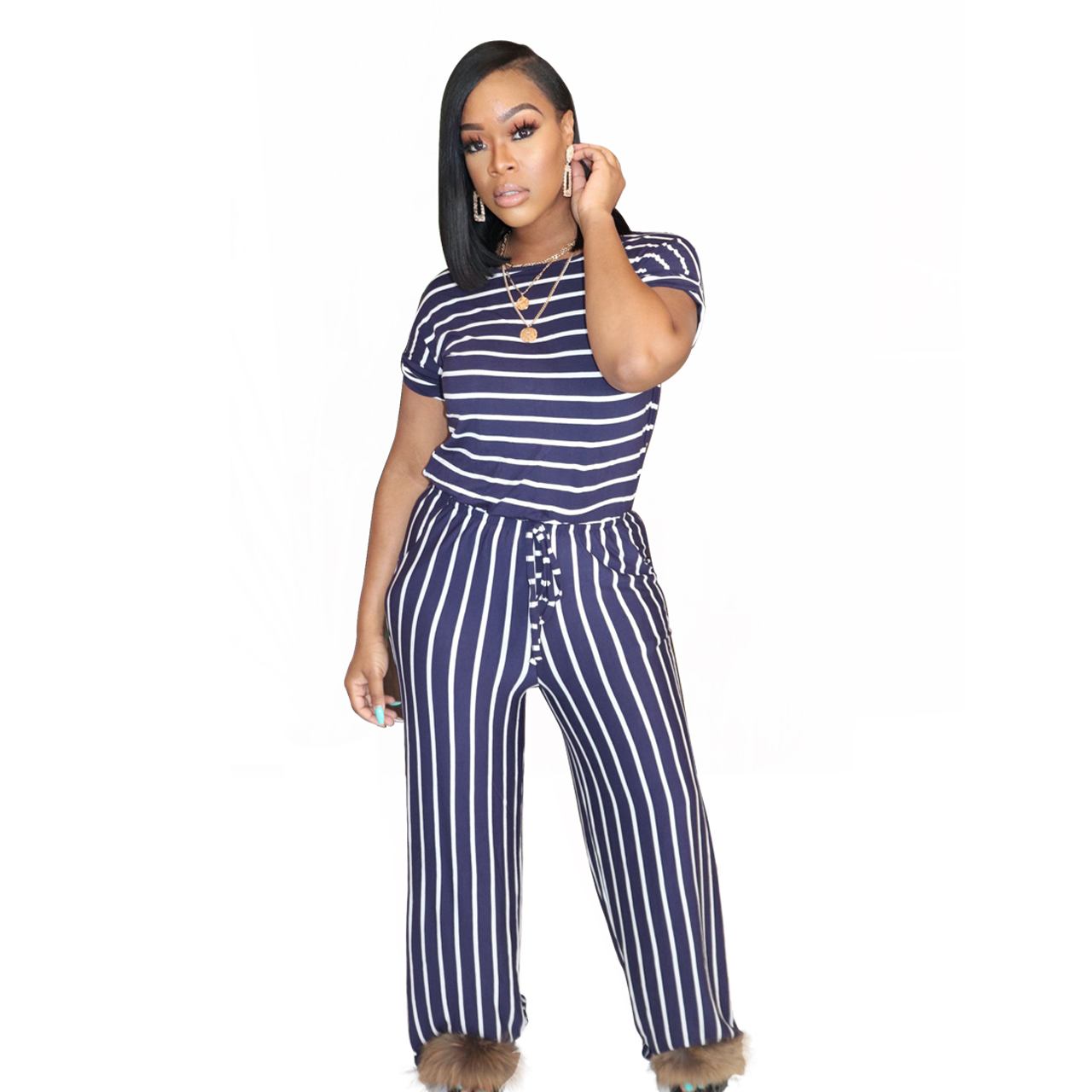 H3ab5610936374865953dc7f70675e264Y - Fashion Women Stripes Jumpsuits Summer New Arrival Short Sleeves Crew Neck Women Casual Rompers Loose Daily Wear Outfits