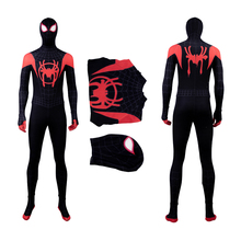MANLUYUNXIAO Spiderman Cosplay Halloween Costume For Kids Adult Men Marvel Spider Man Into The Verse Jumpsuit Custom Made