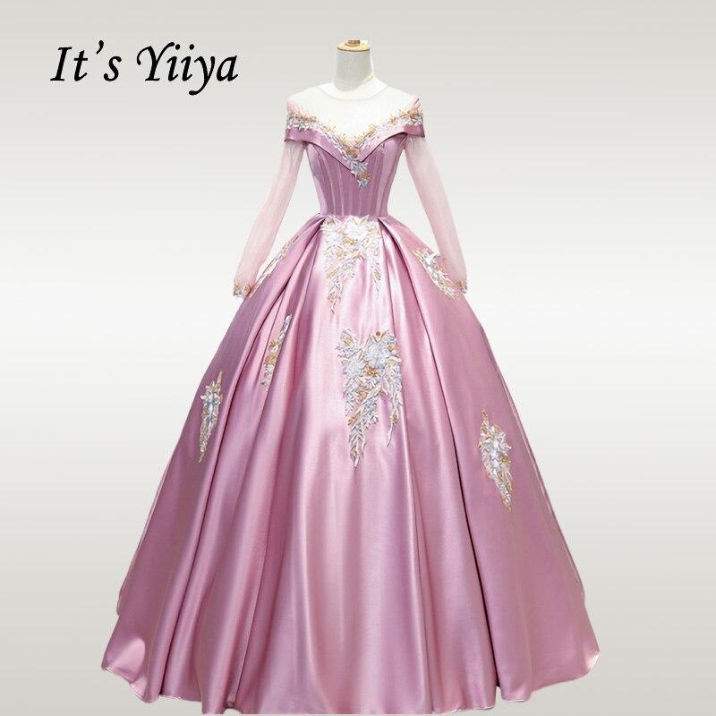 It's YiiYa Wedding Dress Appliques Lace Long Sleeve Wedding Dresses Boat Neck Floor Length Plus Size Robe De Mariee CH082