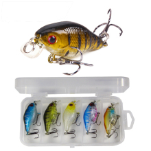 Hard lure bait Suit Rock Plastic Bionic fishing 5 color little fat  5PCS/BOX
