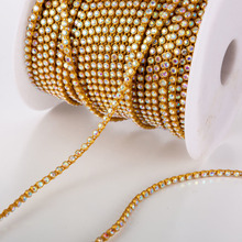 BULESTAR Colorful Rhinestone Banding Beading Gold Plastic Trimming Stone 10yards/lot