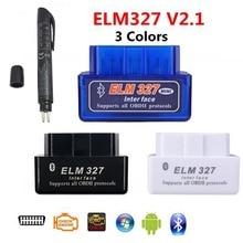 Een + ELM327 V2.1 Bluetooth Obd OBD2 Code Reader Can Bus Ondersteunt Multi Brand Cars Multi Taal elm 327 Bt V2.1 Werkt Android/Pc