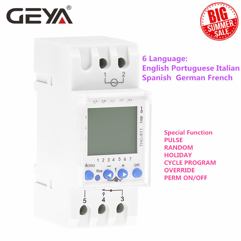 GEYA THC-811 Din Rail 24Hours Digital Timer Switch with Lithium Battery 6 Language Weekly Timers Holiday Setting 16A 220V