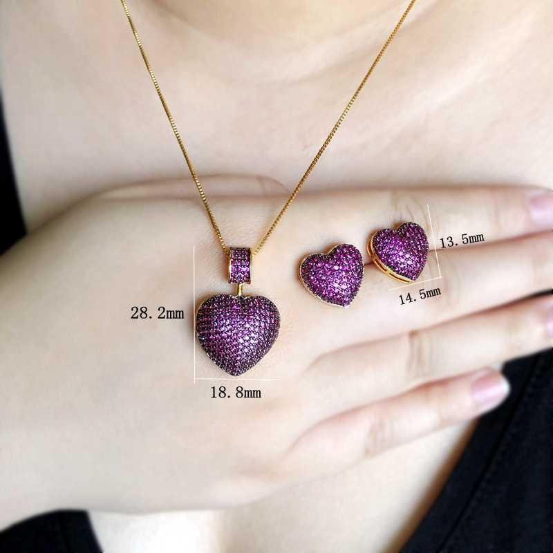 Bentuk Hati Membuka Mikro Multicolor Zirconia Stud Anting-Anting Liontin Kalung Fashion Perhiasan Set untuk Wanita Pesona Pesta Perhiasan