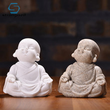 Strongwell Maitreya Buddha Sculpture Sandstone Resin Fengshui White Sand Craft Home Decor Ornament Figurine Home Decoration(China)