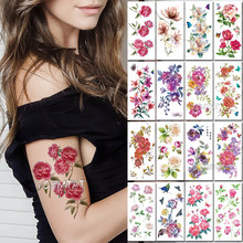 DIY Cute 3D Red Rose Temporary Tattoo Stickers For Women Girls Body Art Daisy Lily Flower Waterproof Fake Tatto Paste Decals(China)