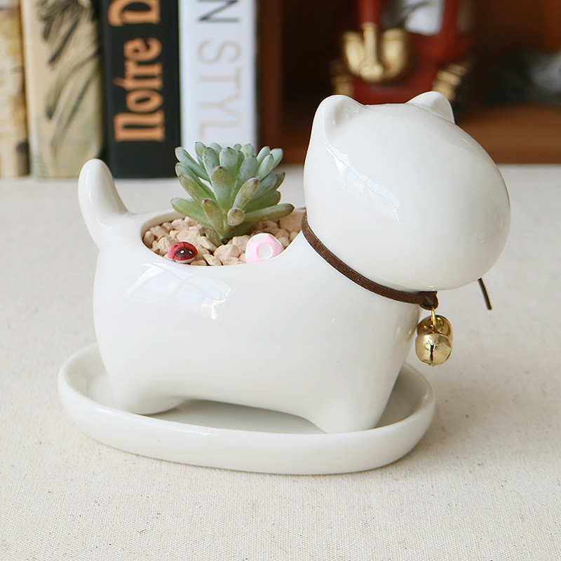Cute Animal Potted Flowers Gardening Succulents Planter Pot White Ceramic Flowerpot Lovely Animal Succulent Plants Flowerpot