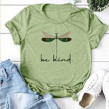 Ser espécie dragonfly impresso camisetas femininas o pescoço manga curta carta casual solto t femme camisetas topo roupas mujer mulher