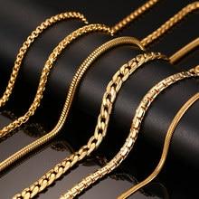 Vnox 24 pouces Or-couleur Chaîne Collier Long En Acier Inoxydable Métal Serpent/Câble/Boîte Ronde Chaîne