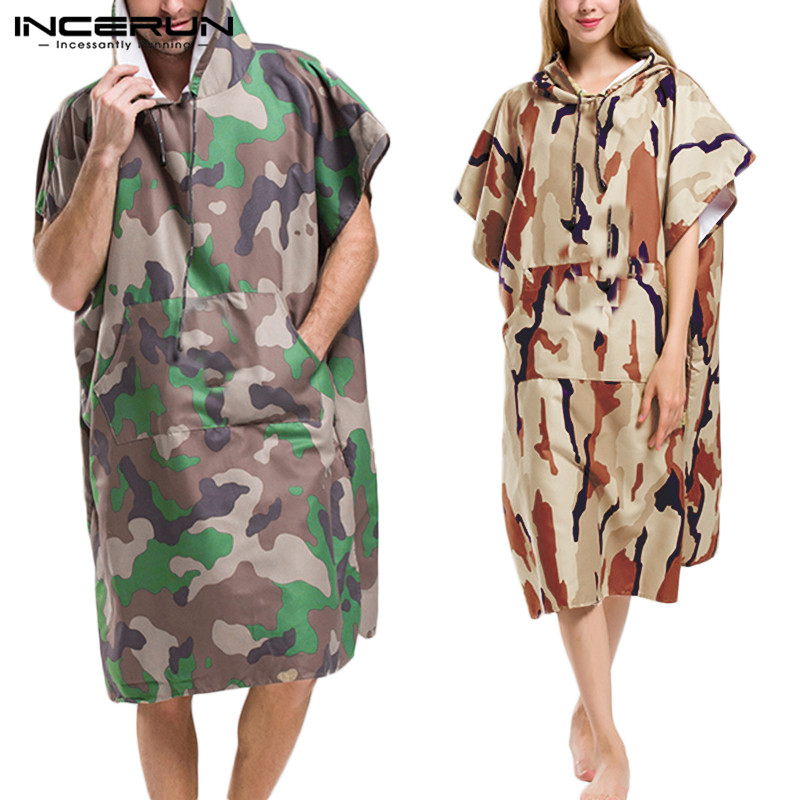 INCERUN Men Bathrobes Camouflage Print Quick Dry Short Sleeve Hooded Breathable Pockets Robes Fashion Beach Ladies Bathrobe 2020