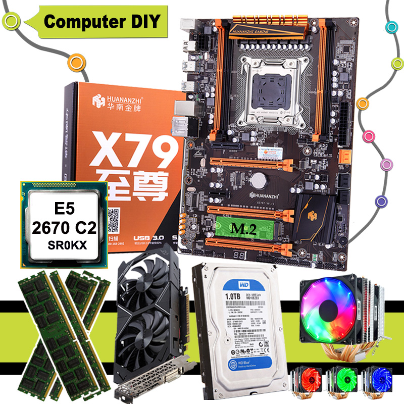 HUANANZHI deluxe X79 motherboard CPU E5 2670 C2 with 6 heatpipes cooler RAM 16G DDR3 RECC 1TB SATA HDD GTX1050Ti 4G video card 1