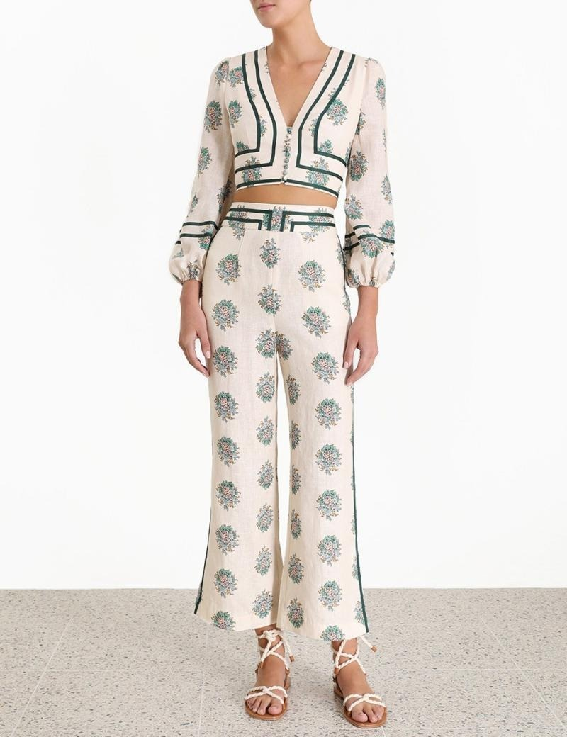 New 2019 Autumn Runway Outfits Women Printed Florals Vintage Linen Sexy Deep V-neck Short Tops Long Pants Button Suits Lady Sets