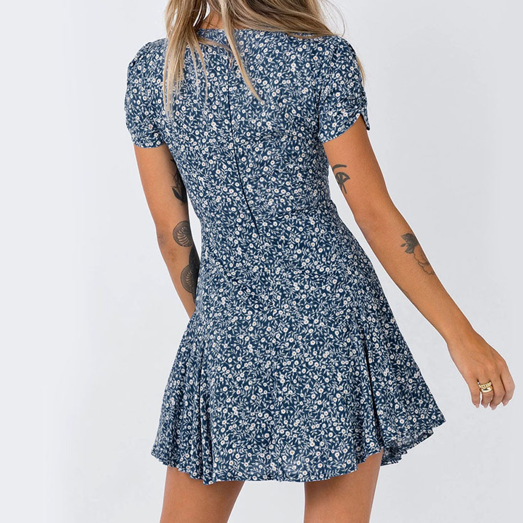 Women's Summer casual dress V  Neck elegant dresses Short Sleeve Printed Party night Dresses Swing Dress Ropa De Mujer#s*