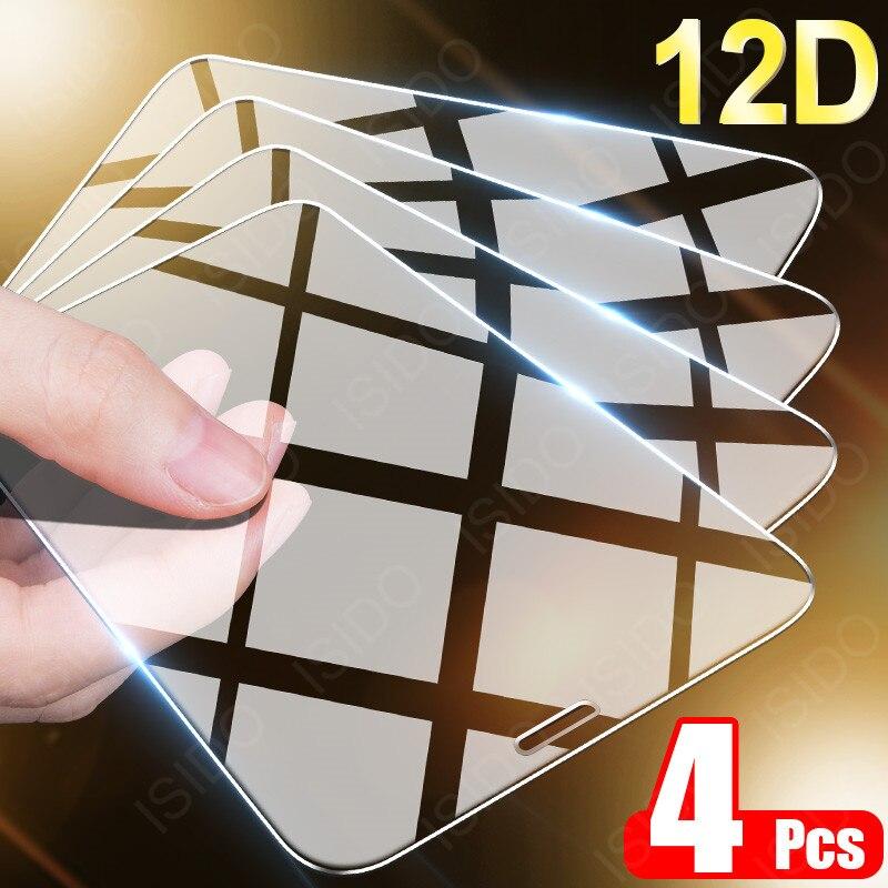 Защитное стекло с полным покрытием 4 шт. для iPhone 11, 12 Pro MAX, X, XR, XS, Защита экрана для iPhone 7, 8, 6, 6s, SE Plus, закаленное стекло