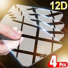 4 pçs capa completa de vidro protetor de tela para iphone 11 12 pro max x xr xs para iphone 7 8 6s se mais vidro temperado