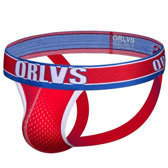 ORLVS Brand sexy gay jockstrap men thongs g-string men underwear cueca tanga breathable mesh comfortable underpants sissy pants