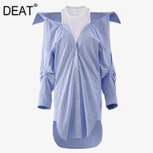 [DEAT] camicia a due pezzi finta Patchwork con tracolla a contrasto intelligente per donna stile Casual nuova moda marea 2021 primavera GX37