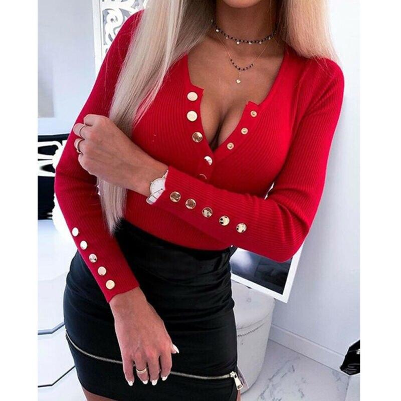 Новинка, брендовый Женский вязаный свитер с длинным рукавом, джемпер, женский сексуальный пуловер на пуговицах с v-образным вырезом, тонкие ...