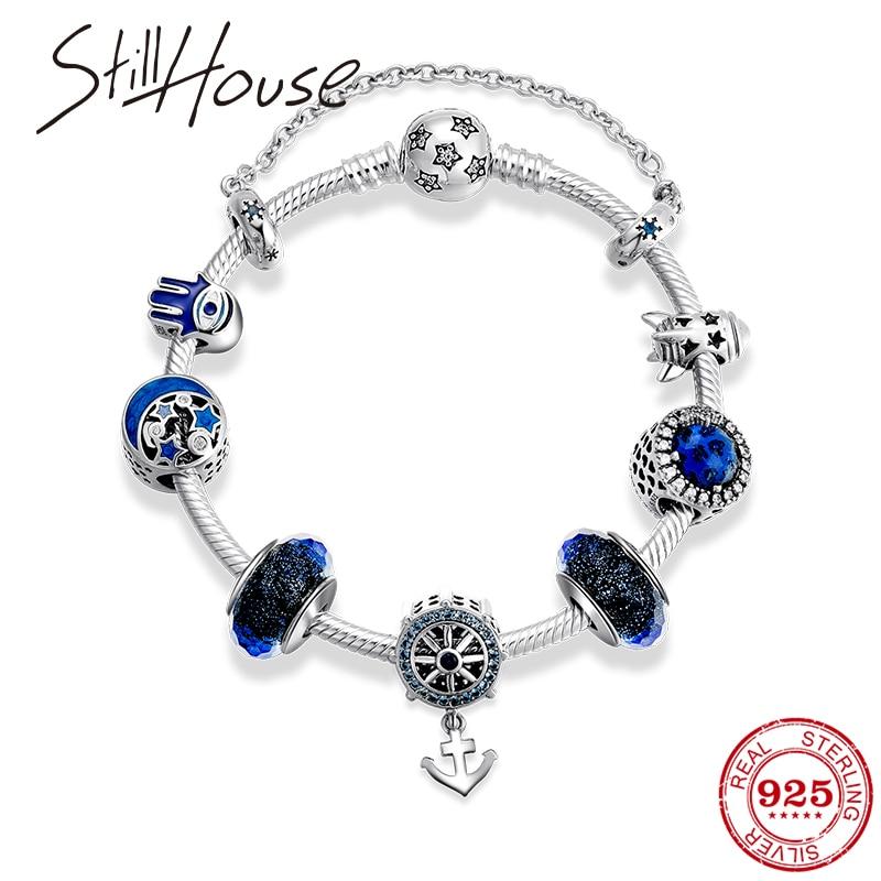 Настоящее серебряные бусины 925 пробы браслеты классические якорь кулон с бусины из муранского стекла браслет для женщин ювелирные изделия - 2