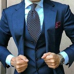 Navy Blau Männer Anzüge für Hochzeit 3 Stück Anzug Blazer Erreichte Revers Kostüm Homme Terno Partei Anzüge (jacke + hose + weste)