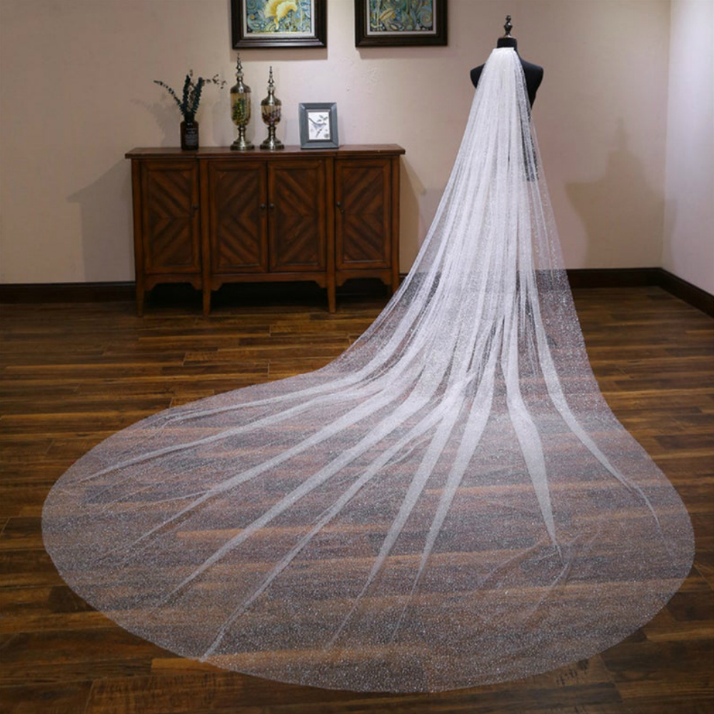 High End Customized Wide Bridal Veils Shiny Sequins Veil For Bridal White Wedding Veil With Comb