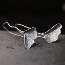 Korean Style Long S925 Silver Ginkgo biloba Drop Earrings For Women Fashion Brand Plant ginkgo Leaf Lady Gift