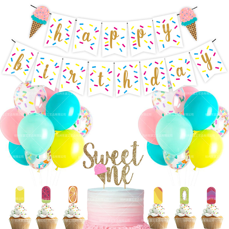 49pcs Happy Birthday Summer Ice Cream Theme Birthday Party Decoration Glitter Banner Party Decoration
