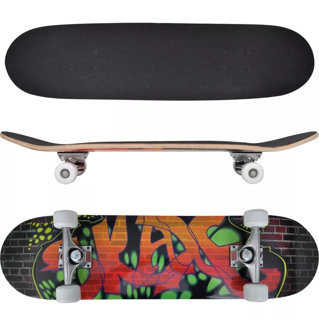VidaXL Oval Shape Skateboard 9 Ply Maple Graffiti Deck Longboard 50 Mm Wheels Skate Board