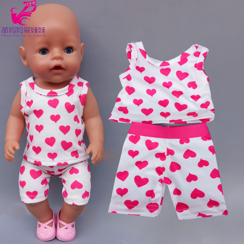 Doll Clothes Summer Pajamas For 43cm Baby Doll 18 Inch Girl Dolls Clothes Vest And Pants