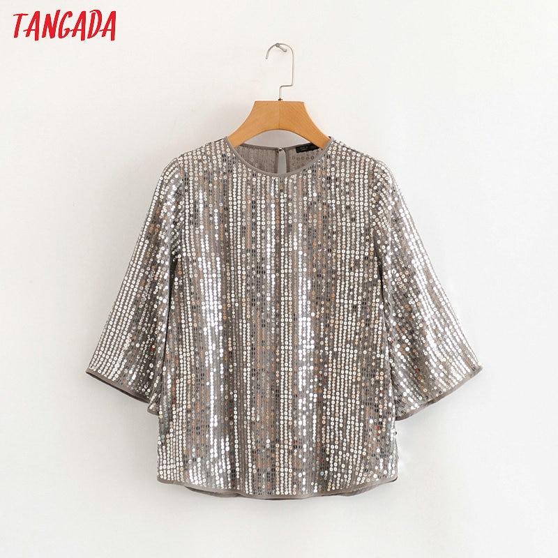 Tangada Women Retro Sequined Blouse O Neck Three Quarter Sleeve Chic Female Casual Loose Shirt Blusas Femininas HY202