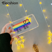 For iPhone 6s 7 8 X Transparent Rainbow Dog Phone Case For iPhone XR XS Max Soft TPU Cute Cover For Apple Phone Back Cover Case animal series cute dog style phone case cover for iphone 4 4s brown black