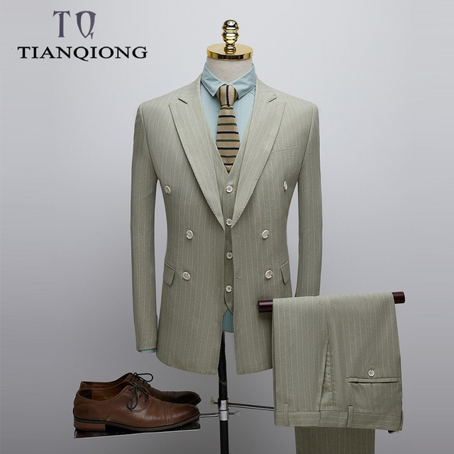 TIAN QIONG Mens Striped Suit Wedding Suit Man Slim Fit Three Piece Mens Dress Suits Business Formal Double Breasted